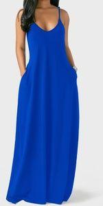 🆕 Ocean blue pocket maxi tank dress L XL, XXL